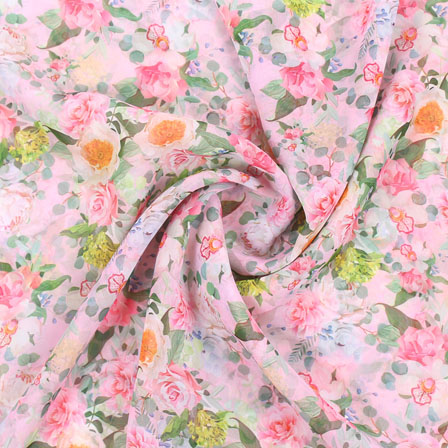 White Pink and Green Flower Georgette Silk Fabric-15106